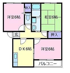 コートグランメールB棟[2階]の間取り
