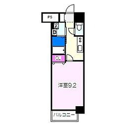 JR阪和線 津久野駅 徒歩6分の賃貸マンション 7階1Kの間取り