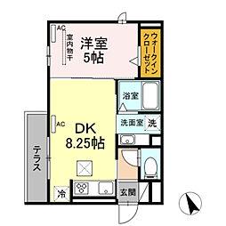 名鉄名古屋本線 東岡崎駅 徒歩5分の賃貸アパート 1階1DKの間取り