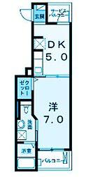 神奈川県横浜市鶴見区矢向1丁目の賃貸アパートの間取り