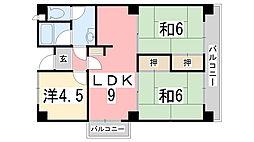 マンション外堀川[1階]の間取り