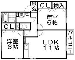 ソフィアコートB棟[2階]の間取り
