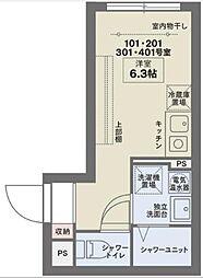 京王線 笹塚駅 徒歩10分の賃貸マンション 2階ワンルームの間取り