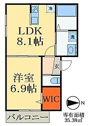 JR総武線 稲毛駅 徒歩10分の賃貸アパート 1階1LDKの間取り