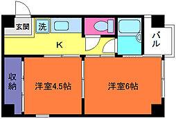 シャトーヒロ[4階]の間取り