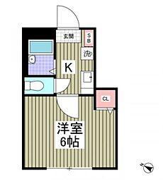 都営三田線 本蓮沼駅 徒歩4分の賃貸アパート 1階1Kの間取り