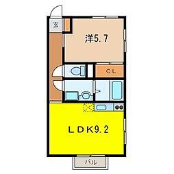 埼玉県草加市稲荷6-の賃貸アパートの間取り