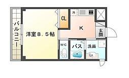 南海高野線 初芝駅 徒歩9分の賃貸アパート 2階1Kの間取り