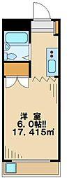 東京都日野市落川の賃貸マンションの間取り