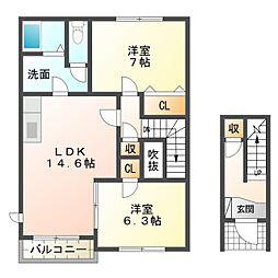 愛知県岡崎市小針町2丁目の賃貸アパートの間取り