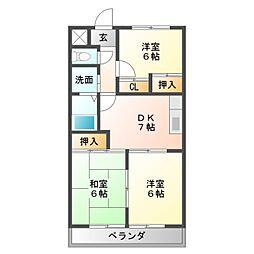 愛知県豊橋市西岩田1丁目の賃貸マンションの間取り