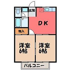 栃木県宇都宮市西川田5丁目の賃貸アパートの間取り