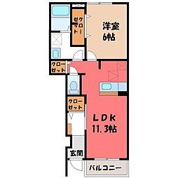 栃木県小山市西城南1丁目の賃貸アパートの間取り