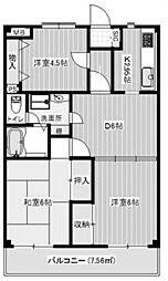 レーベンシュロス生田[203号室]の間取り