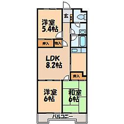 栃木県小山市城東2丁目の賃貸マンションの間取り