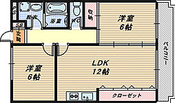 大阪府泉大津市寿町の賃貸マンションの間取り
