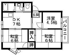 滋賀県彦根市金沢町の賃貸アパートの間取り