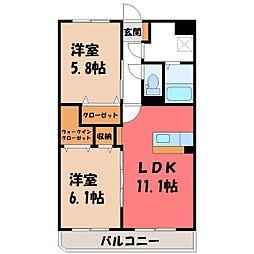 東武宇都宮線 西川田駅 徒歩13分の賃貸マンション 4階2LDKの間取り