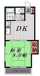 コーポ平出 4階1DKの間取り