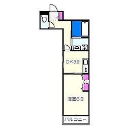 南海高野線 堺東駅 徒歩10分の賃貸マンション 4階1DKの間取り