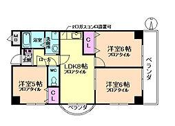 エステート桜塚[4階]の間取り