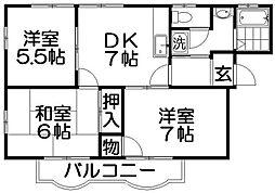 大阪府寝屋川市若葉町の賃貸アパートの間取り