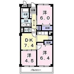 愛知県豊川市蔵子3丁目の賃貸マンションの間取り