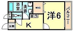 JR東海道・山陽本線 立花駅 徒歩10分の賃貸アパート 1階1Kの間取り