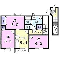 愛知県豊川市御油町一重薮の賃貸アパートの間取り