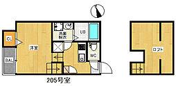 MUKAVA吉塚[205号室]の間取り