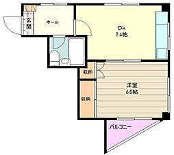 JR青梅線 中神駅 徒歩11分の賃貸マンション 3階1DKの間取り