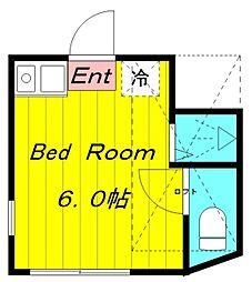ユナイト登戸グリニッジの杜 1階ワンルームの間取り
