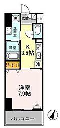 東武伊勢崎線 越谷駅 徒歩5分の賃貸マンション 9階1Kの間取り