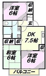 埼玉県狭山市鵜ノ木の賃貸アパートの間取り