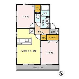 プリーマヴェールA棟[1階]の間取り