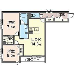 シェノン 1階2LDKの間取り