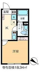 m-station 3階1Kの間取り