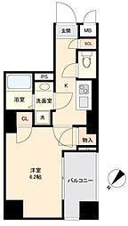 JR山手線 目黒駅 徒歩10分の賃貸マンション 6階1Kの間取り