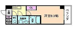 阪急宝塚本線 十三駅 徒歩5分の賃貸マンション 5階1Kの間取り