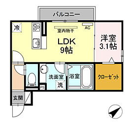 JR東海道本線 豊橋駅 バス19分 西口下車 徒歩16分の賃貸アパート 3階1LDKの間取り