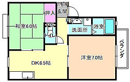 大阪府枚方市大垣内町3丁目の賃貸アパートの間取り