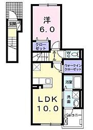 トゥウィンクルアーク弐番館 2階1LDKの間取り