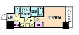 アドバンス西梅田ラシュレ 11階1Kの間取り