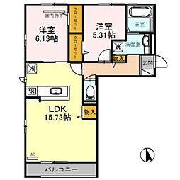南海高野線 萩原天神駅 徒歩3分の賃貸アパート 3階2LDKの間取り