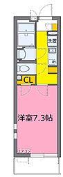 東武野田線 大宮公園駅 徒歩6分の賃貸マンション 3階1Kの間取り
