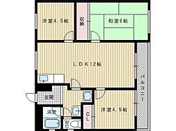 中田レジデンス[1階]の間取り