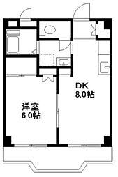 神奈川県横浜市青葉区あざみ野2丁目の賃貸マンションの間取り
