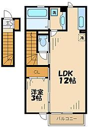 京王相模原線 京王永山駅 徒歩12分の賃貸アパート 2階1LDKの間取り