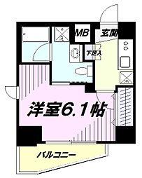 JR中央線 立川駅 徒歩10分の賃貸マンション 8階1Kの間取り