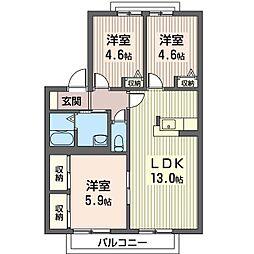 カサベルデ倉沢 2階3LDKの間取り